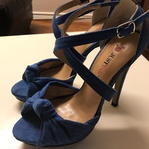 JUST FAB Cobalt Blue Knotted Strappy Heels
